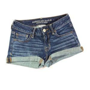 """American Eagle Blue Denim Cuffed """"Shortie"""" Shorts"""